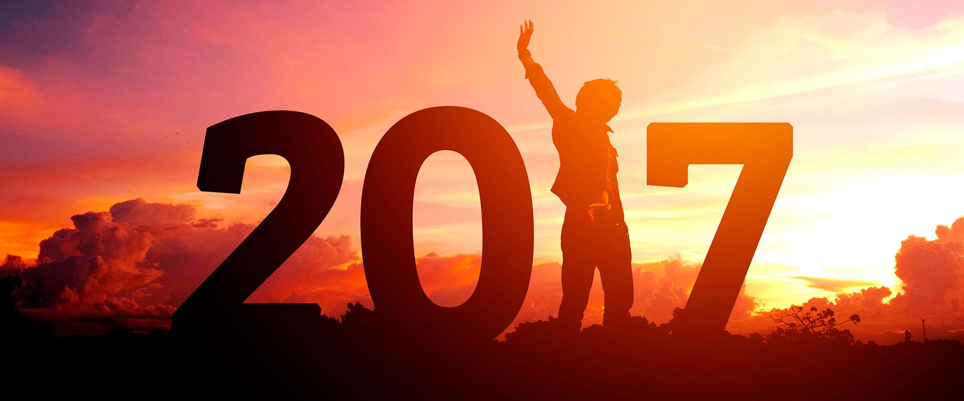 Imagen de persona viendo el atardecer, recibiendo el año 2017.
