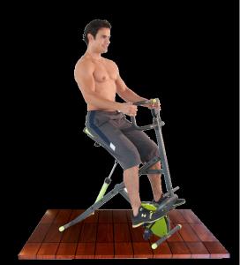Hombre en el Body Crunch Evolution haciendo bicicleta
