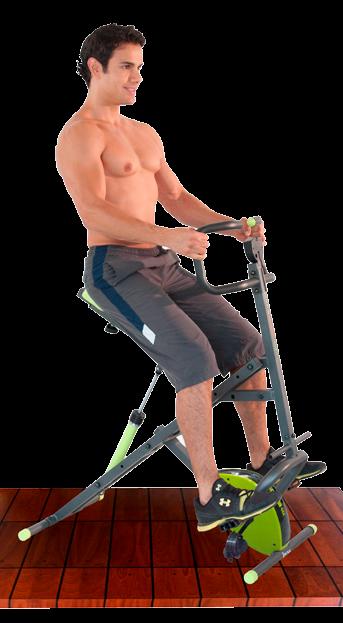 Hombre en el Body Crunch Evolution utilizando la bicicleta magnética