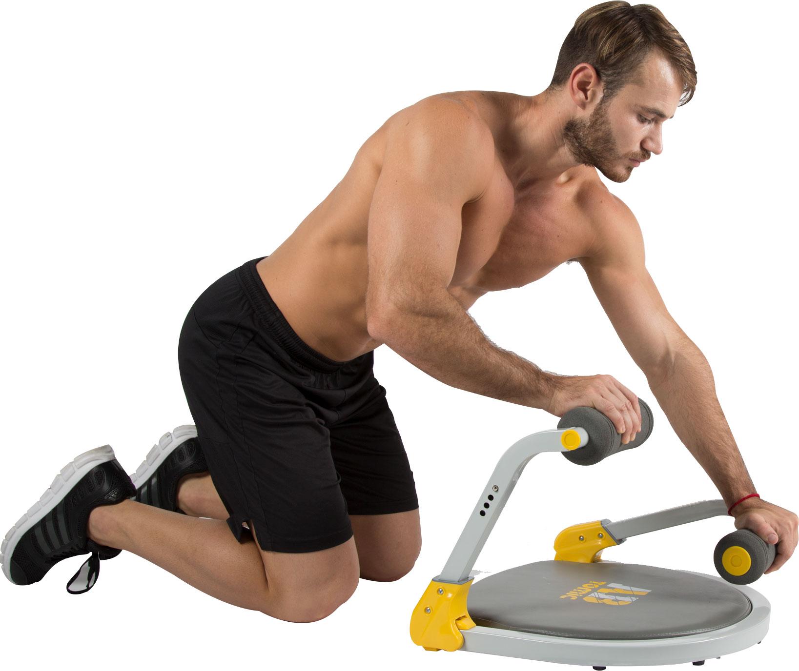 Hombre utilizando el aparato de ejercicio Ab Tomic, haciendo el ejercicio Empuje de brazos.